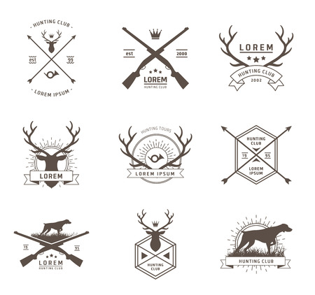 antlers silhouette: Vector set of hunting labels on white Illustration