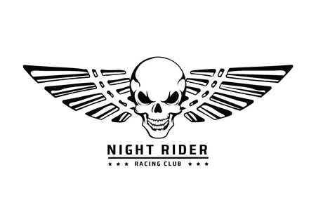 racing wings: Angry skull with wings vector emblem on white Illustration