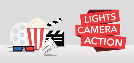 cine ilumina cámara de acción de fondo plano Ilustración de vector