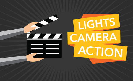 in action: cinema lights camera action flat background