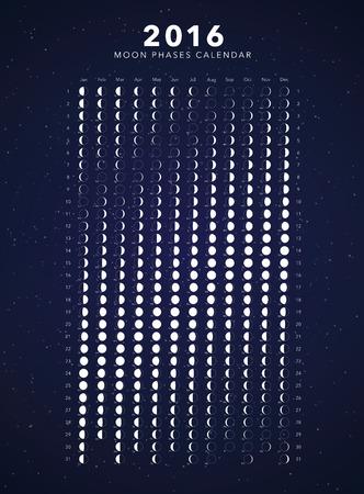 moon phases: 2016 moon phases calendar dark background Illustration