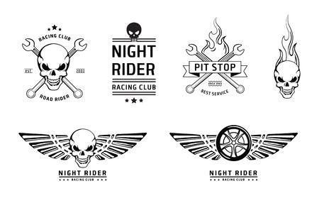 skull crossbones: Racing skull emblems set on white Illustration