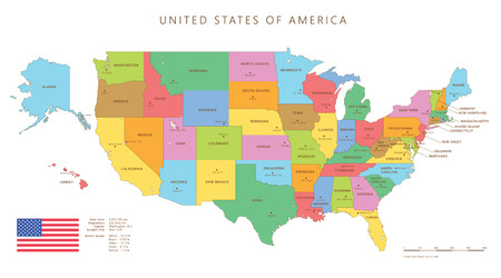 Silhouette and colored united states map with names and capitals background Vettoriali