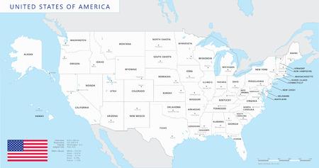 Silhouette et États-Unis colorés carte avec les noms et les capitales de fond Vecteurs