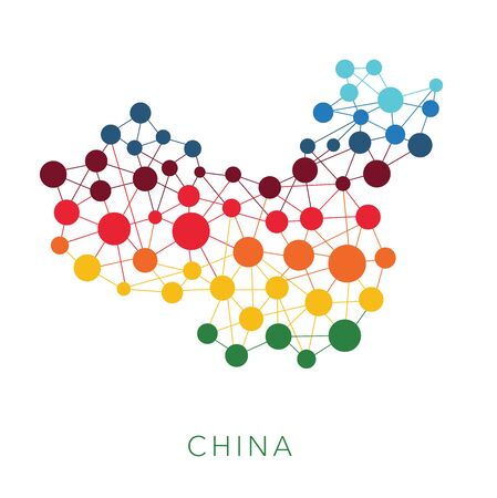 the mainland: dotted texture China vector background on white