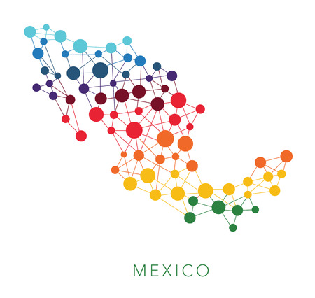 dotted world map: dotted texture Mexico vector background on white