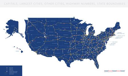 Elevato dettaglio USA strada interstatale mappa vettoriale