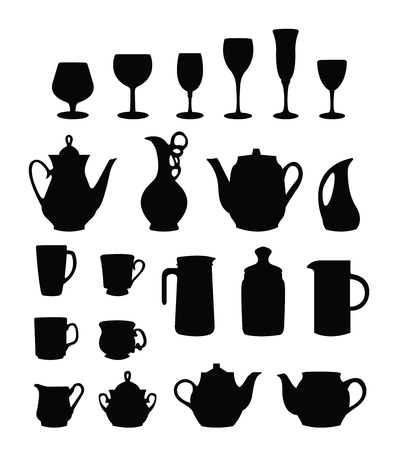 gripping bars: many different tableware silhouette vector on white Illustration