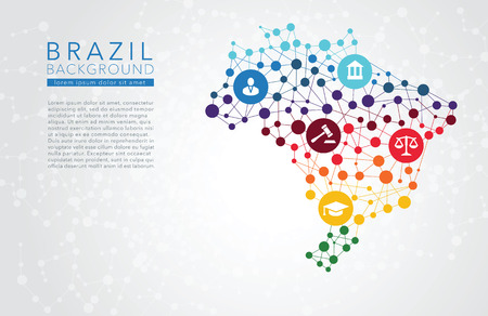 law of brazil: Brazil dotted vector background conceptual infographic report