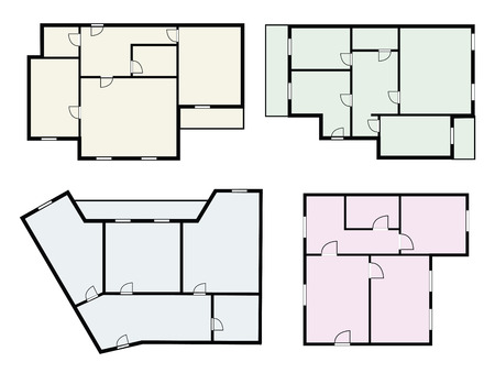 floor plans: flat projects vector set on white background Illustration