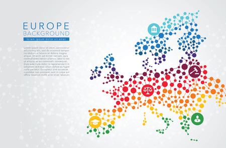 Europe dotted vector background conceptual infographic report Illustration