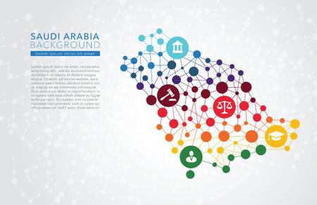 Arabie Saoudite vecteur pointillé fond rapport infographique conceptuel