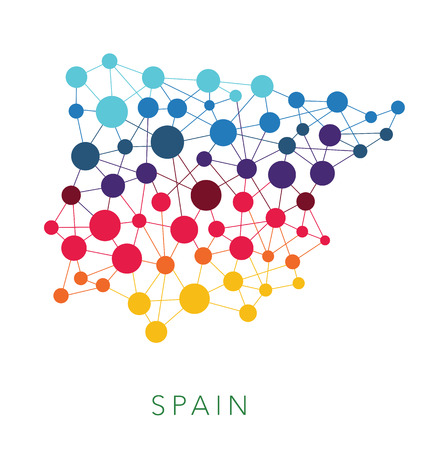 spain map: dotted texture Spain multicolored abstract background Illustration