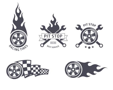 bandera carrera: El competir con los neumáticos y los emblemas de servicios. diseño plano