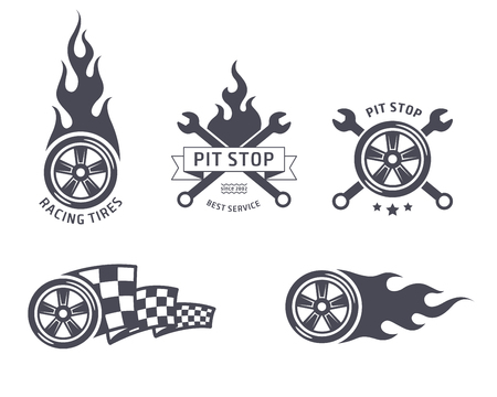 Racing tires and service emblems. flat design Illustration