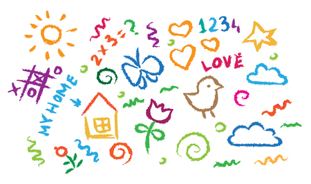 cartoon cloud: children drawing bright multicolored symbols set