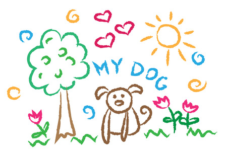 flower illustration: children drawing dog, multicolored symbols set