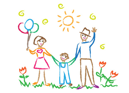 pencil drawings: children drawing family, multicolored symbols set Illustration