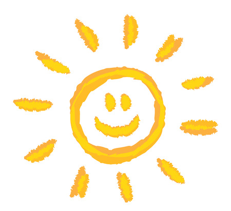 sun set: children drawing bright smiling sun symbol