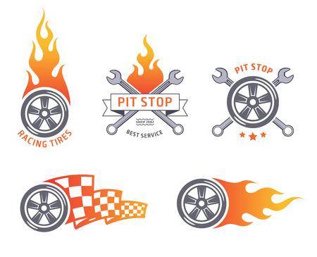 Los neumáticos de carreras de color y emblemas de servicios. diseño plano Ilustración de vector