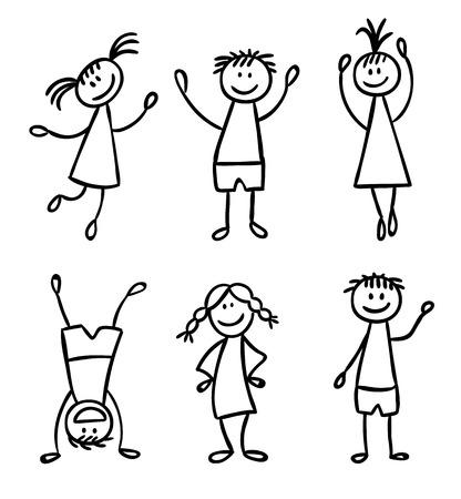 caras felices: Niños amistad caracteres conjunto dibujado a mano Vectores