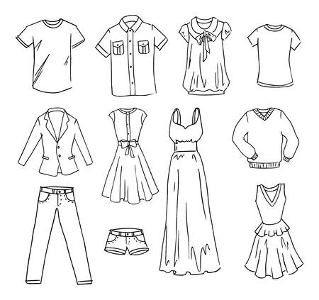 femme dessin: ensemble dessiné des vêtements de mode vente d'occasion