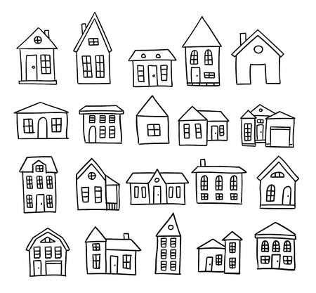 Hand drawn house cartoon architecture set