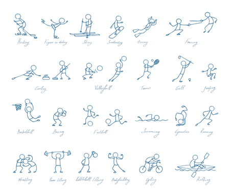 symbol people: sport people hand drawn symbol set