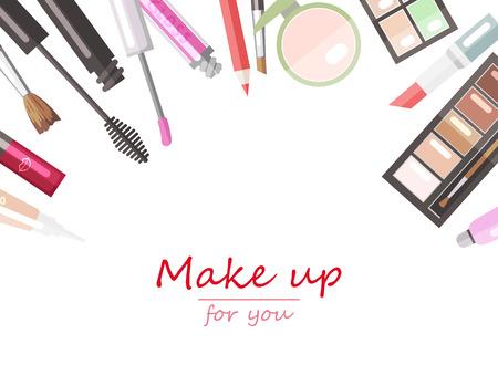 Make-up beauty producten plat vector achtergrond sjabloon