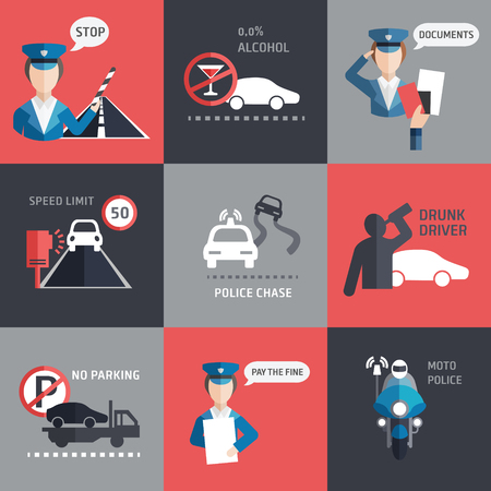 traffic violation: Road police flat style backgroud vector set