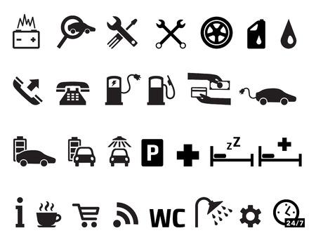 assistance: Roadside services transportation black icons vector set Illustration