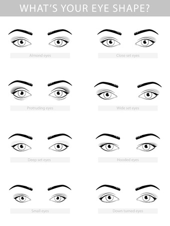 Various types of woman eyes, vector set template Ilustração