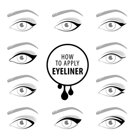 Varios tipos de delineador de ojos, conjunto de vectores tutorial
