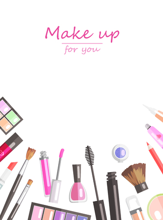 corrector: Makeup beauty products flat vector background template