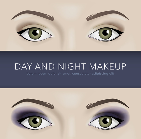 night background: day and night eye makeup vector background