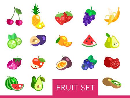 Fruta grande conjunto de vectores plana. iconos de la fruta