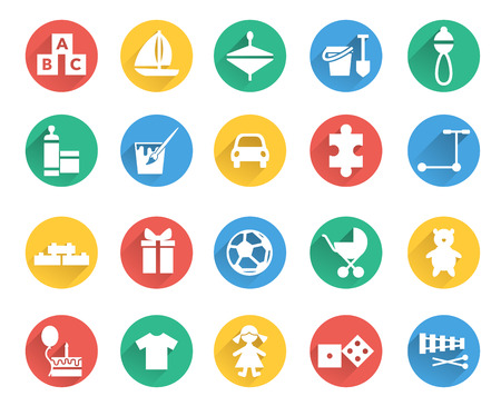 car clothes: Toys and children icons vector set. Child store sections Illustration