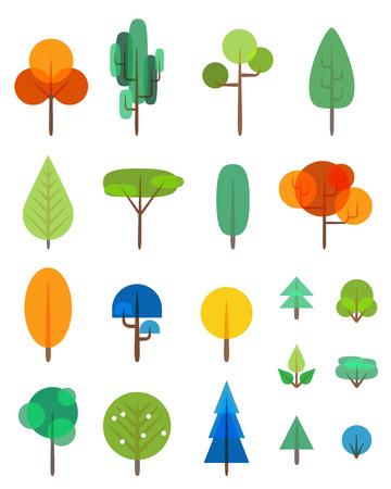 Flat trees and bushes vector transparency symbols set Illustration