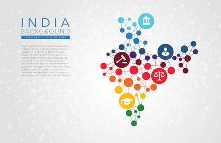 mapas conceptuales: India dotted vector background conceptual infographic report Vectores