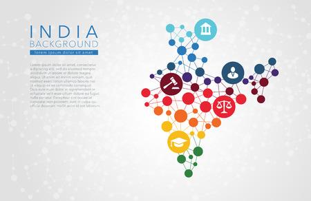India punteada vector de fondo conceptual informe de infografía