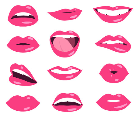 pink woman lips facial expression vector set