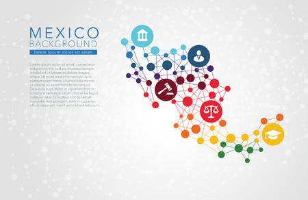 México Vector de puntos de fondo conceptual informe de infografía