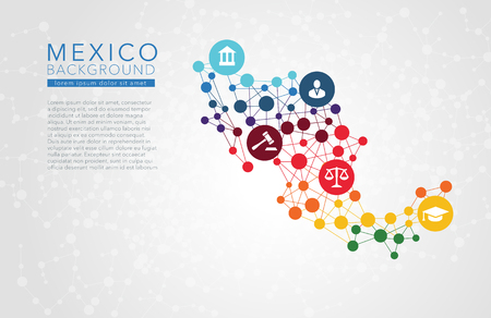 Mexico dotted vector background conceptual infographic report