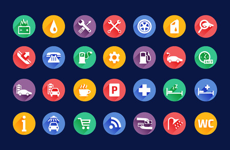 Roadside services transportation black icons vector set Ilustração
