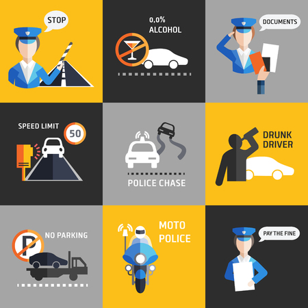 accident: Road police flat style backgroud vector set