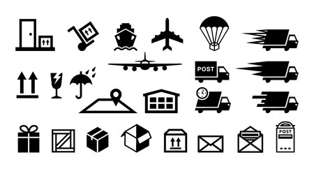 delivery service flat icons vector set isolated Vector Illustration