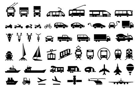 Grandes iconos de transporte conjunto. Símbolos planos ilustración vectorial