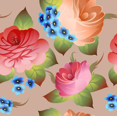 red rose bouquet: Vintage russian floral pattern zhostovo style vector Illustration