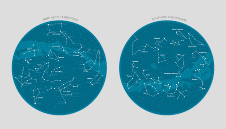 High detailed star map with names of stars and constellations vector Illustration