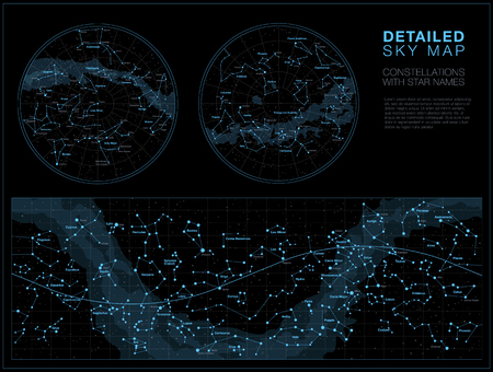 High detailed sky maps vector set with star and constellation names Illustration